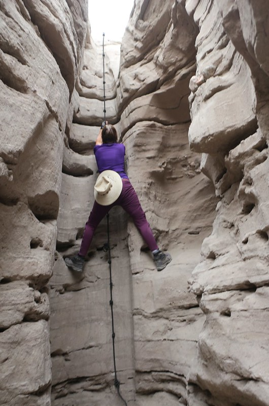 There were several good spots for footholds along the way, which allowed Vicki to rest as she climbed the rope
