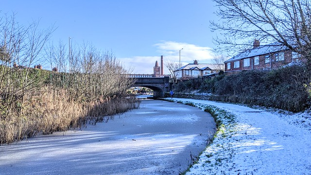 iced over canal at Preston
