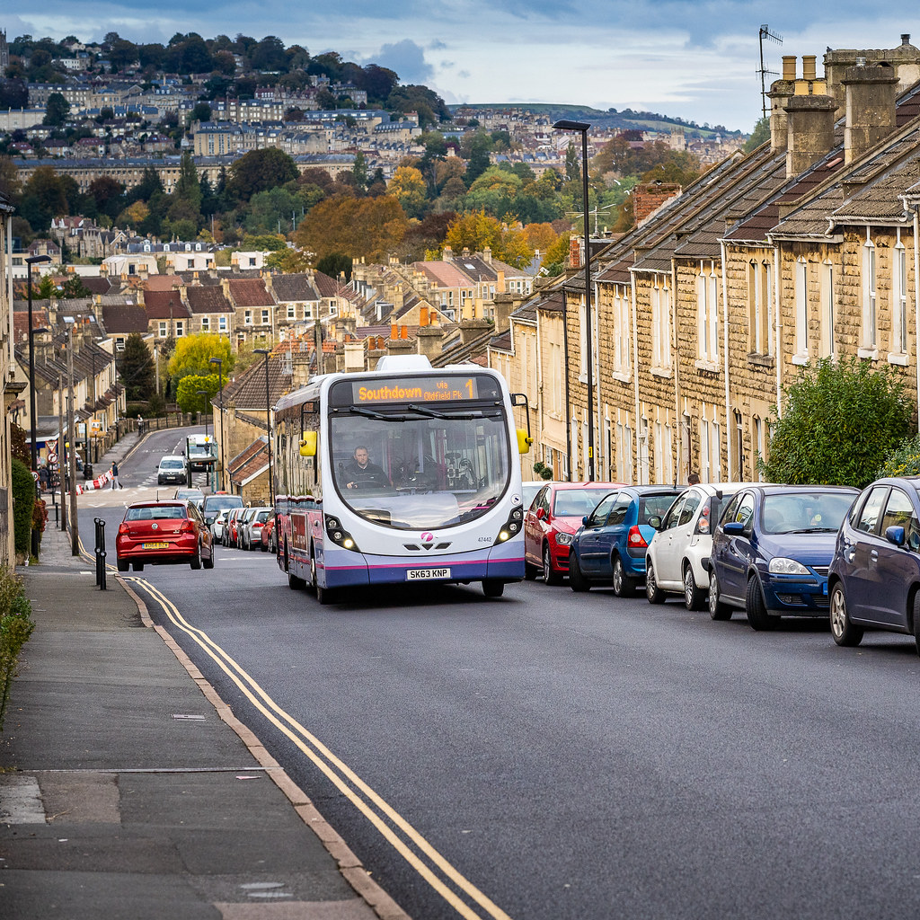 A local Bath bus travelling through Oldfield Park.