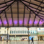 Preston Market canopy lit purple in remembrance of holocaust day