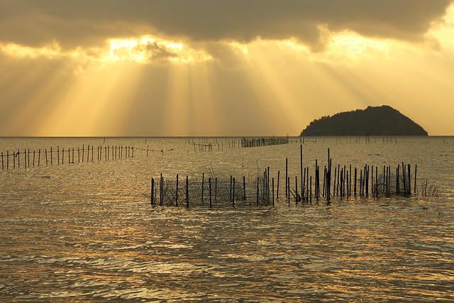 Sunbeam over Lake Biwa