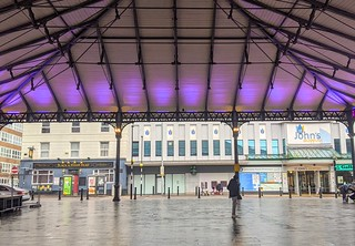 Preston Market canopy lit purple in remembrance of holocaust day | by Tony Worrall