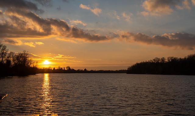 Sundown at river Danube