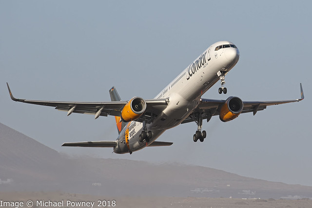 D-ABOC - 1998 build Boeing B757-330, the Condor hannover airport logojet departing from Arrecife