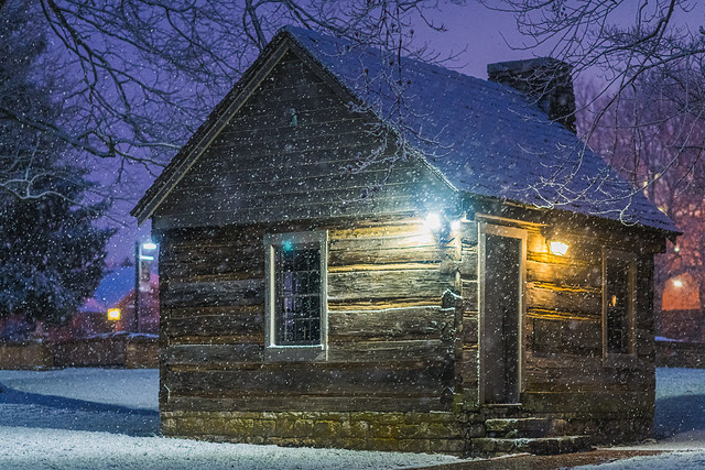 Winter's snow on America's first post office west of the Allegheny Mountains