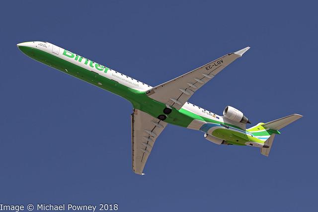 EC-LOV - 2011 build Bombardier CRJ1000 (CRJX), departing from Runway 21 at Arrecife