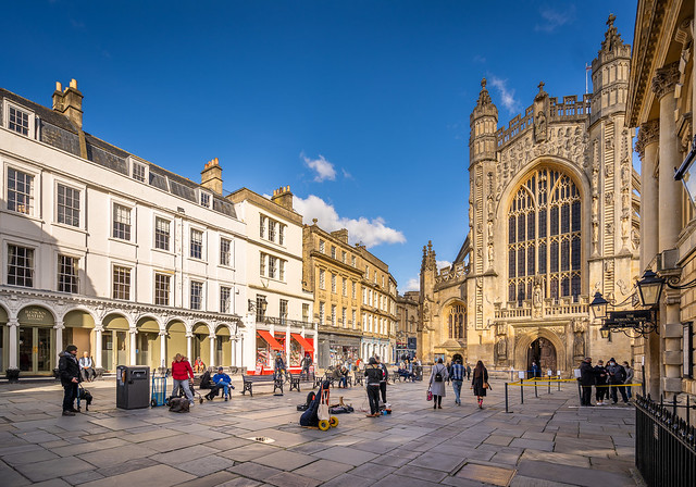 View of the west front of Bath Abbey