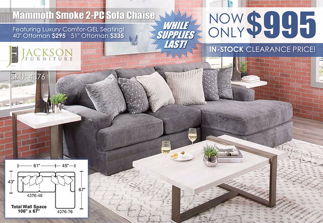 Mammoth Smoke 2PC Sofa Chaise RAF_4376_InStockSpecial_wDimensions_Update