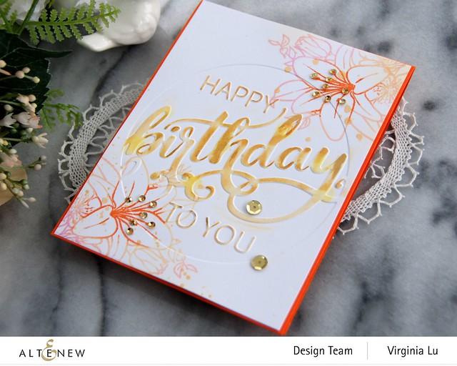 Altenew-Modern Birthday Faux Letterpress Debossing Folder-Our Friendship Blooms Stamp Set-002