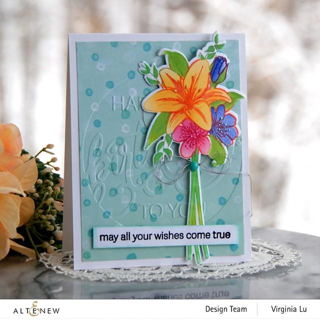 Altenew-Our Frienship Blooms-Modern Birthday Faux Letterpress Debossing Folder