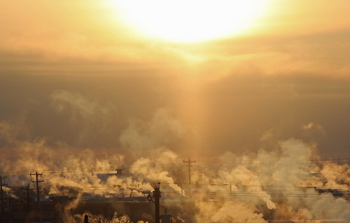cold edmonton sunrise alberta steam
