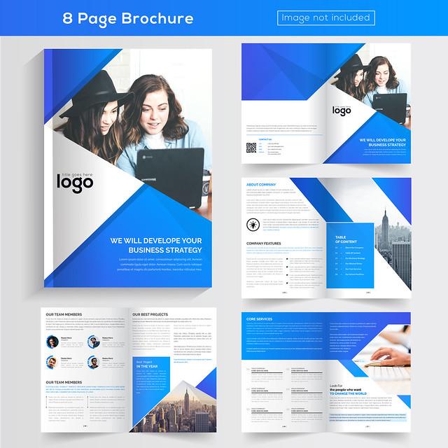 8 pages Blue Color Business Brochure Design.