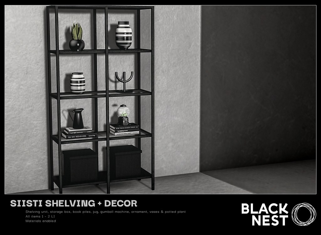 BLACK NEST | Siisti Shelving + Decor | Fifty Linden Friday