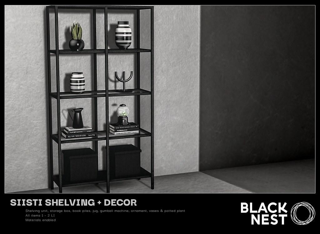 BLACK NEST | Siisti Shelving + Decor | Fifty Linden Friday
