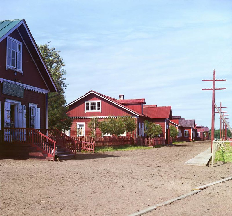 Рабочий посёлок, Ковжинский лесопильный завод. п. Ковда, 1909 год. Фото Прокудина-Горского