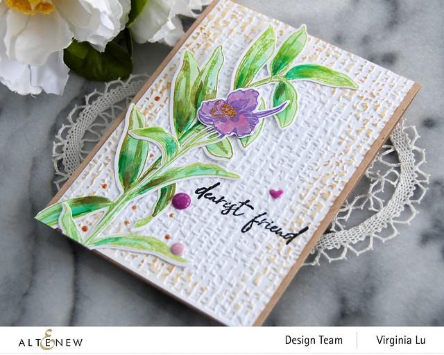 Altenew-Tall Foliage Stamp Set-Organic Linen 3D Embossing Folder-002