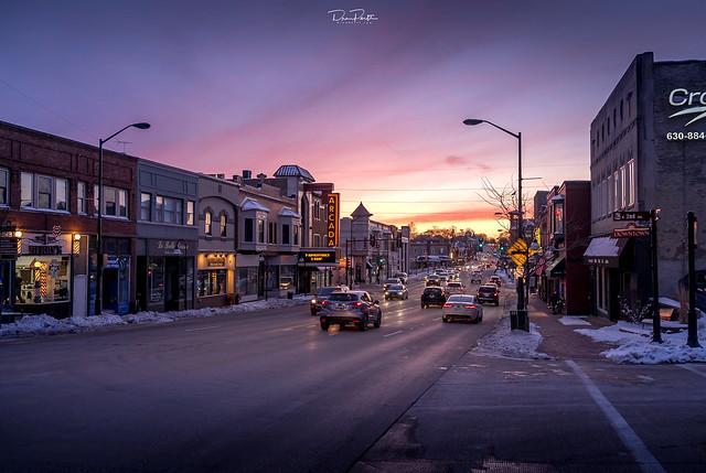 Winter Sunset over Main Street | St. Charles, Illinois