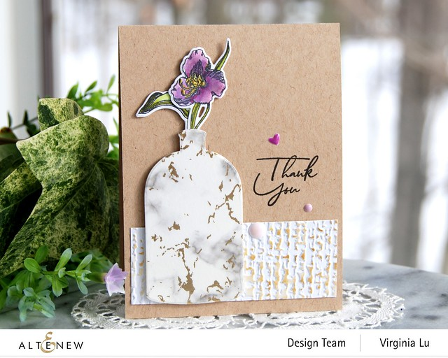 Altenew-Foiled Marble Washi Tape-Tall Foliage StampDie-Organic Linen3D Embossing Folder-Versatile Vases 2