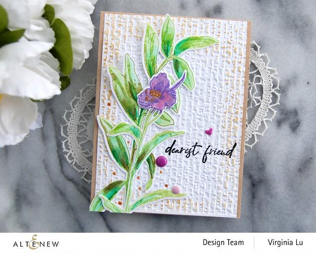 Altenew-Tall Foliage Stamp Set-Organic Linen 3D Embossing Folder-003
