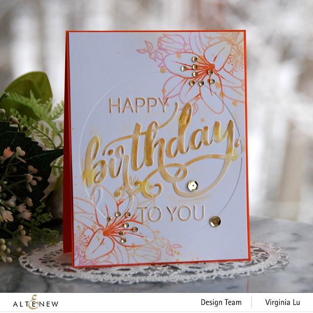 Altenew-Modern Birthday Faux Letterpress Debossing Folder-Our Friendship Blooms Stamp Set-001
