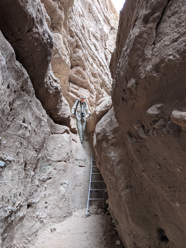 Me. as I prepare to downclimb a ladder in Ladder Canyon