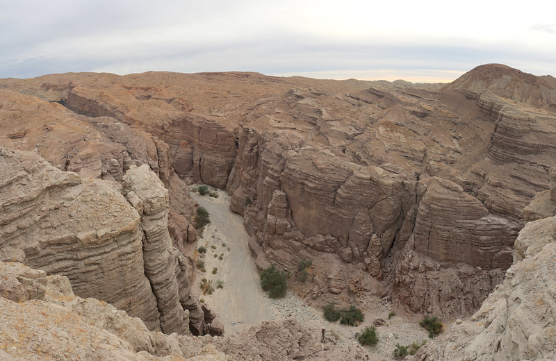 Looking down into Painted Canyon from the Ridge Trail - the entrance to ladder canyon is down there