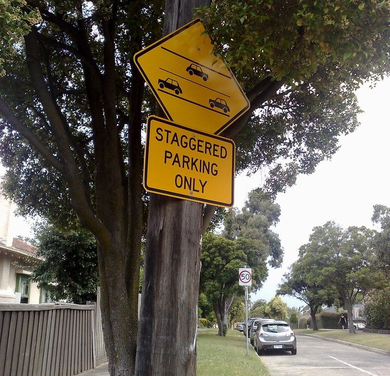 Staggered parking sign, Camberwell (January 2011)
