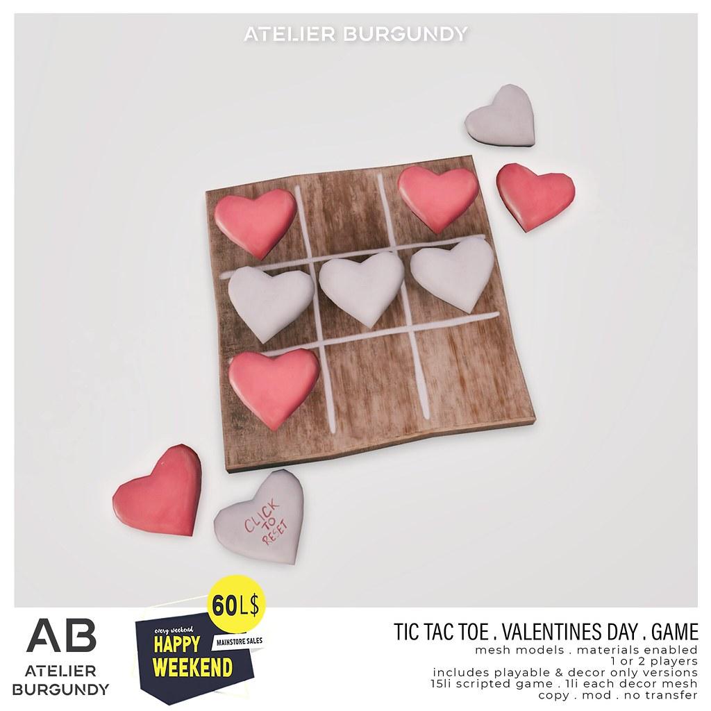 Atelier Burgundy . TicTacToe Valentines
