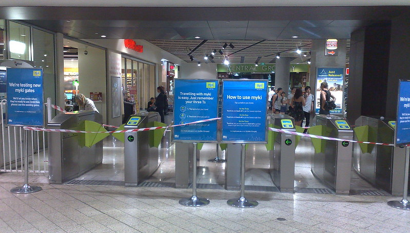 Myki gates being tested, Melbourne Central Station (January 2011)