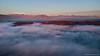 Villa Crespia e la collina di Erbusco sommersa dalla nebbia