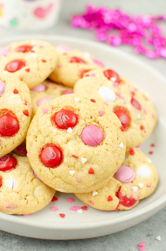 Valentine's Day Pudding Cookies - the perfect soft and chewy cookies with white chocolate chips, Valentine's Day M&Ms, and sprinkles. Your Valentine is going to love them!