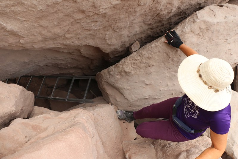 One last ladder to negotiate through the tumbled chockstones and boulders at the mouth of Ladder Canyon