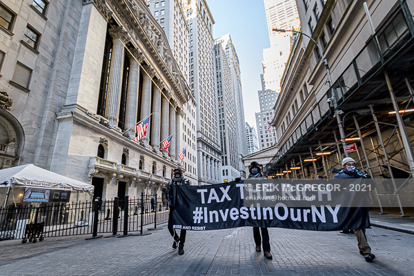 New Yorkers Protest In Wall Street Demanding Legislators Pass Financial Transaction Tax