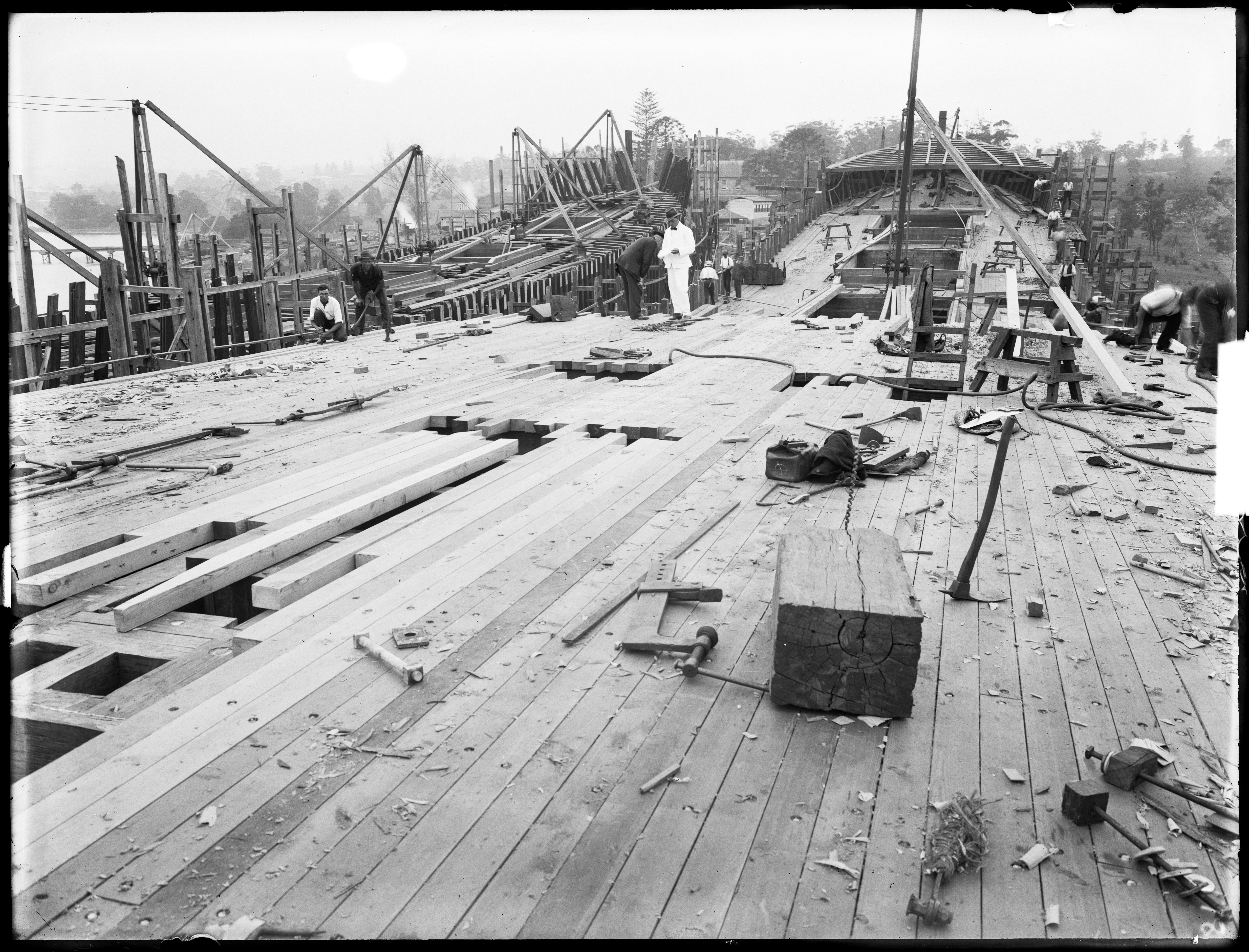 Braeside' and 'Burnside' under construction, Kidman & Mayoh, shipbuilders, Kissing Point Park, Ryde, Sydney, c. 1920, Arthur Ernest Foster