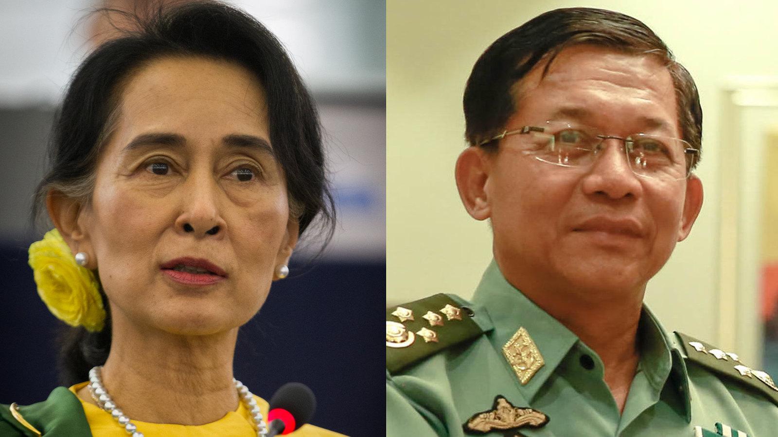 (ซ้าย) อองซานซูจี ที่ปรึกษาแห่งรัฐ (ขวา) พล.อ.อาวุโส มินอ่องหล่าย ผบ.สส.กองทัพพม่า