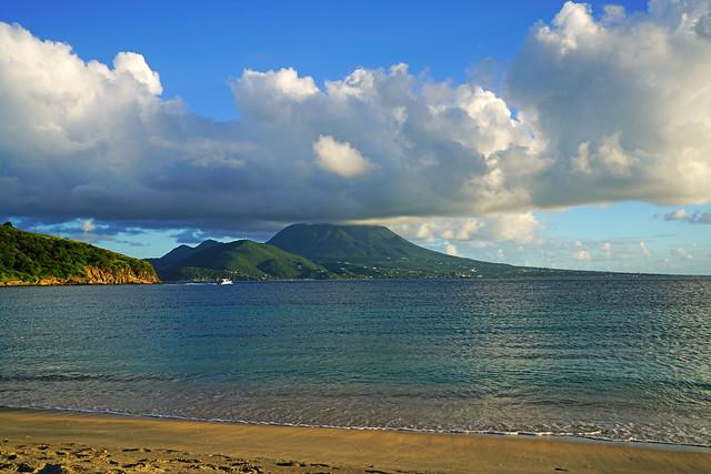 Cockleshell Bay & Nevis Peak, Reggae Beach, St Kitts