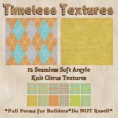 TT 12 Seamless Soft Argyle Knit Citrus Timeless Textures