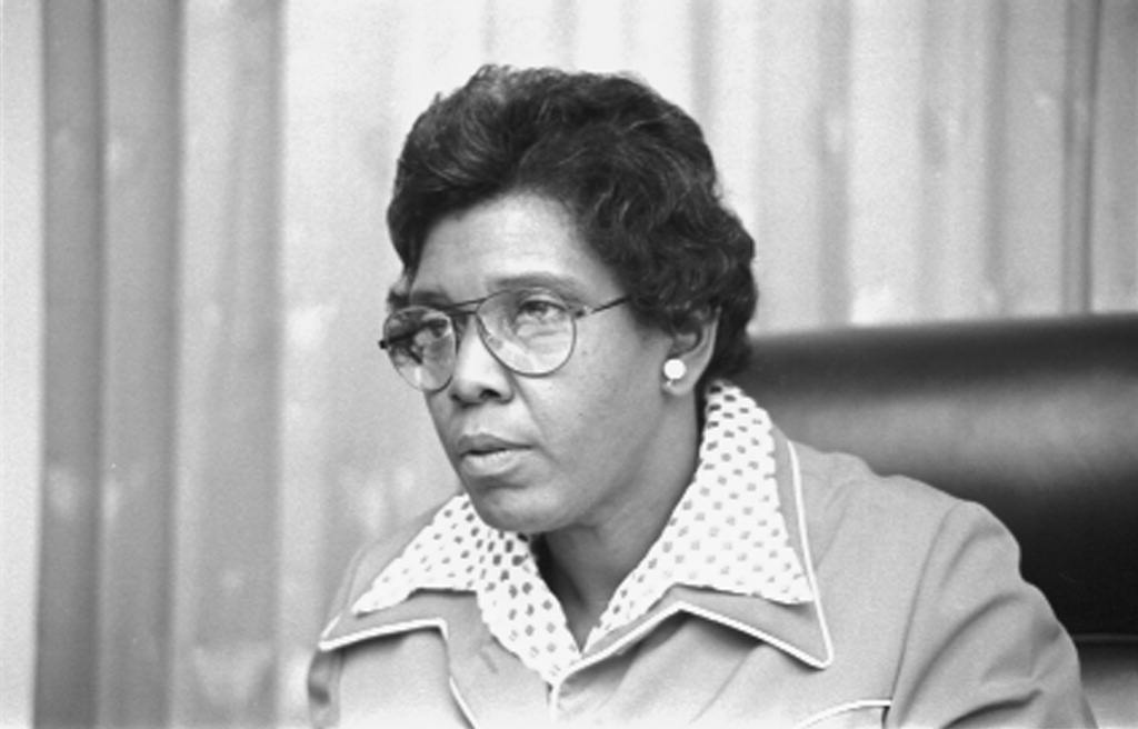 [Congresswoman Barbara Jordan, head-and-shoulders portrait, possibly seated in a Congressional chamber] (LOC)