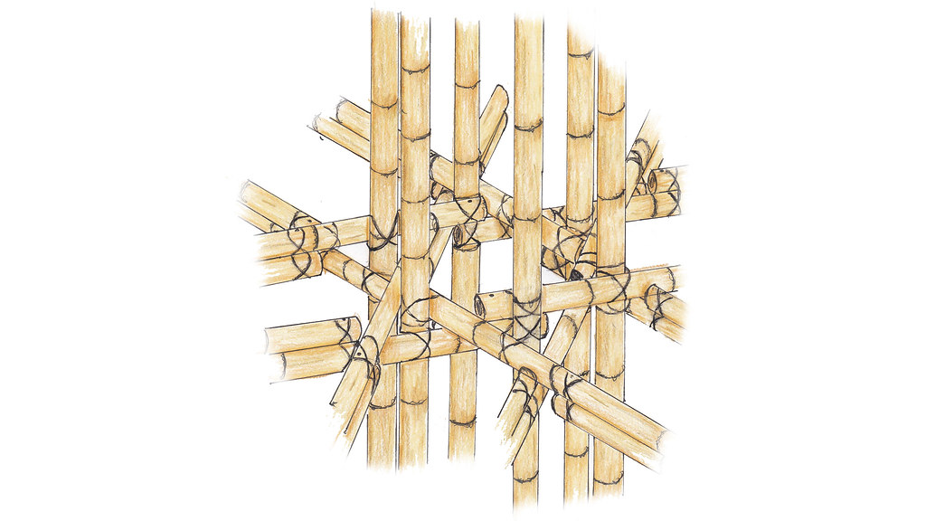 Hand drawn image of the bamboo connections, showing the intricate joints.