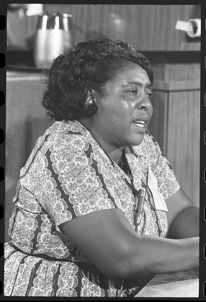 [Fannie Lou Hamer, Mississippi Freedom Democratic Party delegate, at the Democratic National Convention, Atlantic City, New Jersey, August 1964] (LOC)