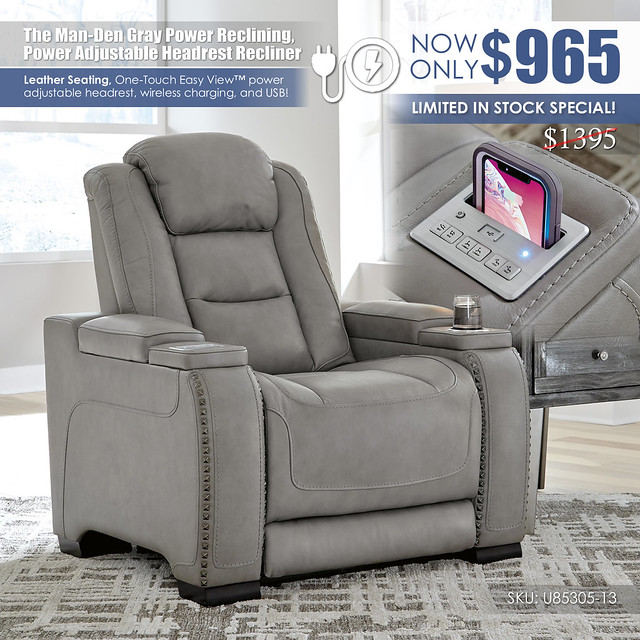 The Man Den Gray Power Recliner_U85305-13-CLSD_Clearance