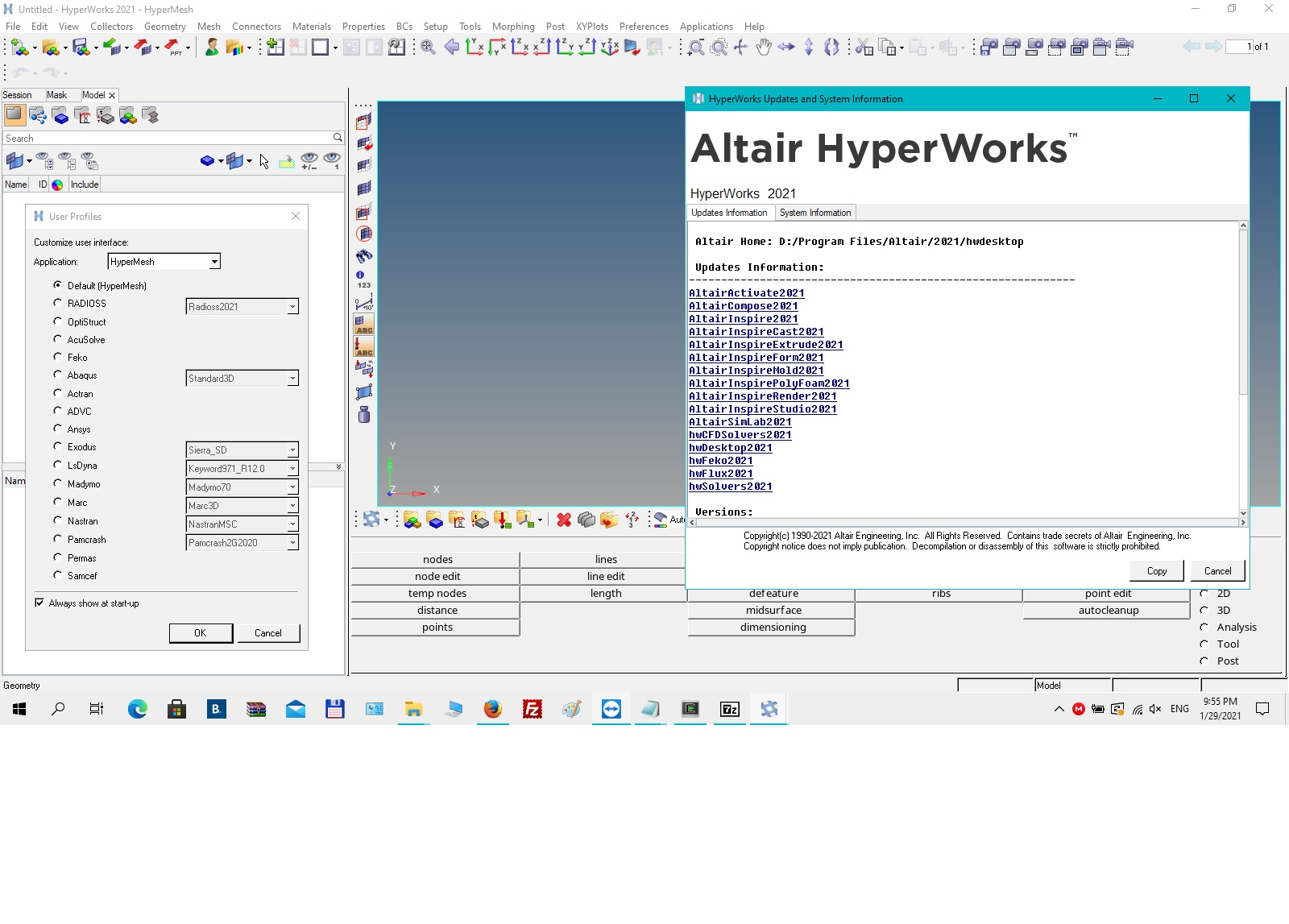 Working with Altair HWDesktop + Solvers 2021.0 full