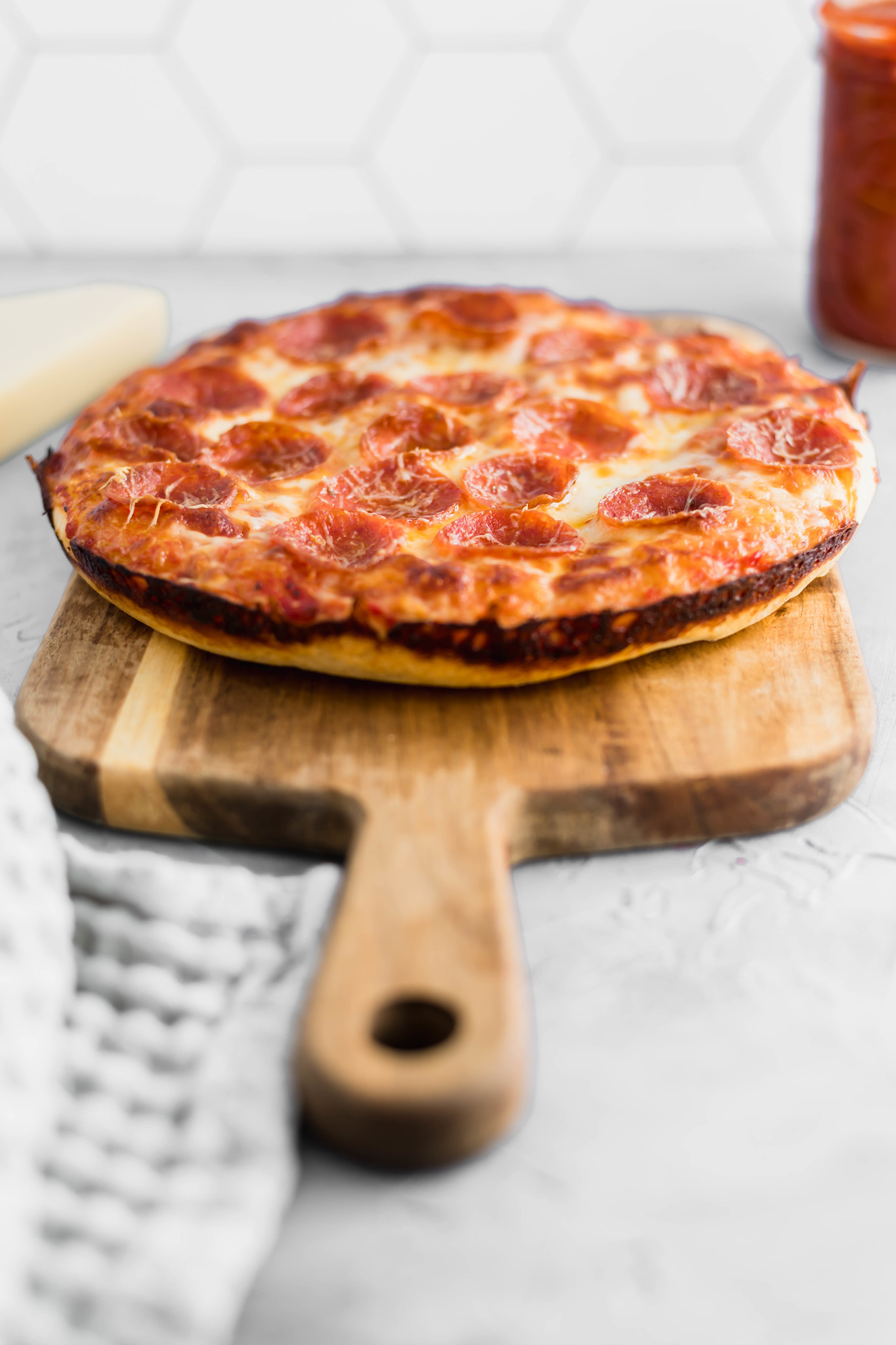 Movie night just got a whole lot better with this Cast Iron Skillet Pizza. It has the perfect crispy bottom and is topped with your favorite pizza toppings.