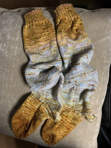 Dianne finished these slouchy socks for a size 5 foot using Shirley Brian Yarns Deconstructed Fade Sock!