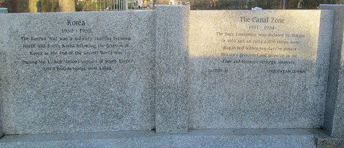 Korea and Canal Zone Memorial Wall, Sunderland