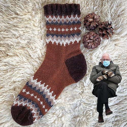 Not interested in mittens or a sweater? Here are Bernie's Socks by Stone Knits!