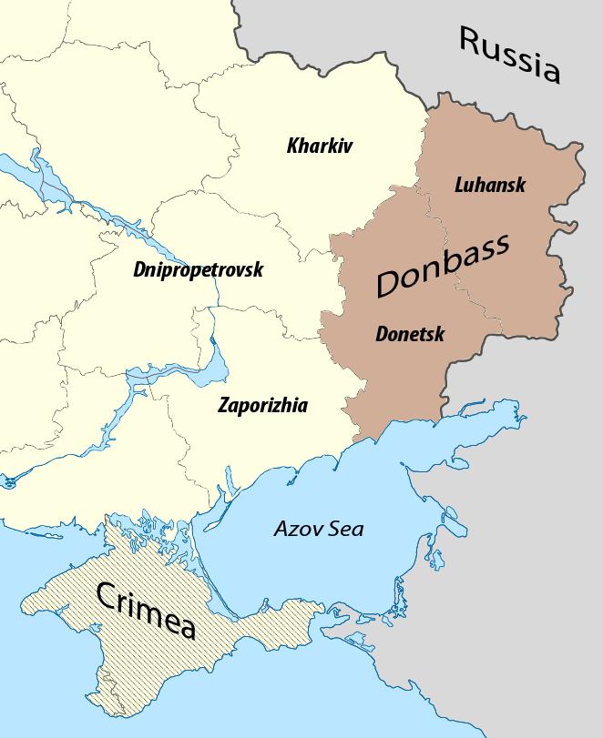 Carte des oblasts de Donetsk et Lougansk