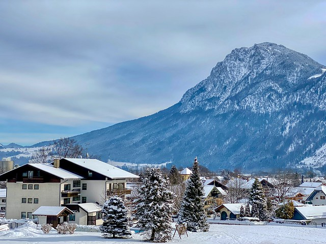 Winter view of Kiefersfelden in the river Inn valley with Zahmer Kaiser mountain range in Bavaria, Germany