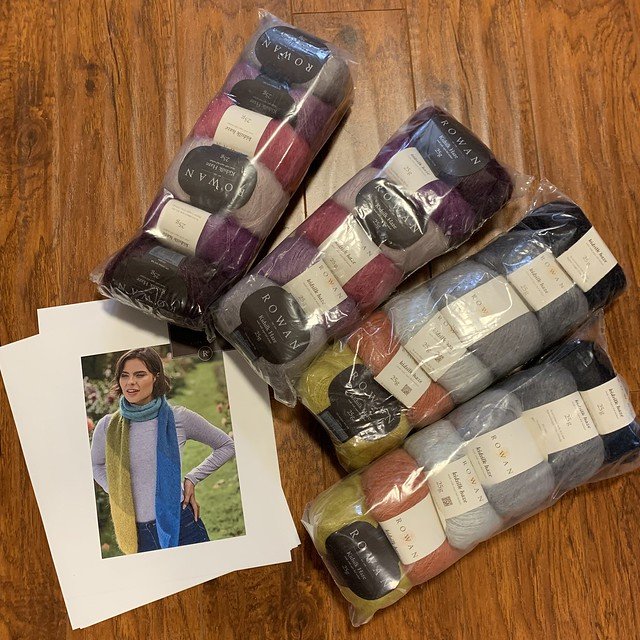 A few Rowan Kidsilk Haze Kits including a pattern for a beautiful scarf curated and designed by Rowan designer Lisa Richardson.
