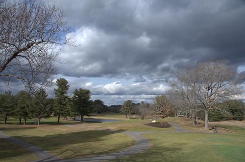 hillview green cloudy rain storm sky skyscape hill tree winter golf course landscape massachusetts nature brewing